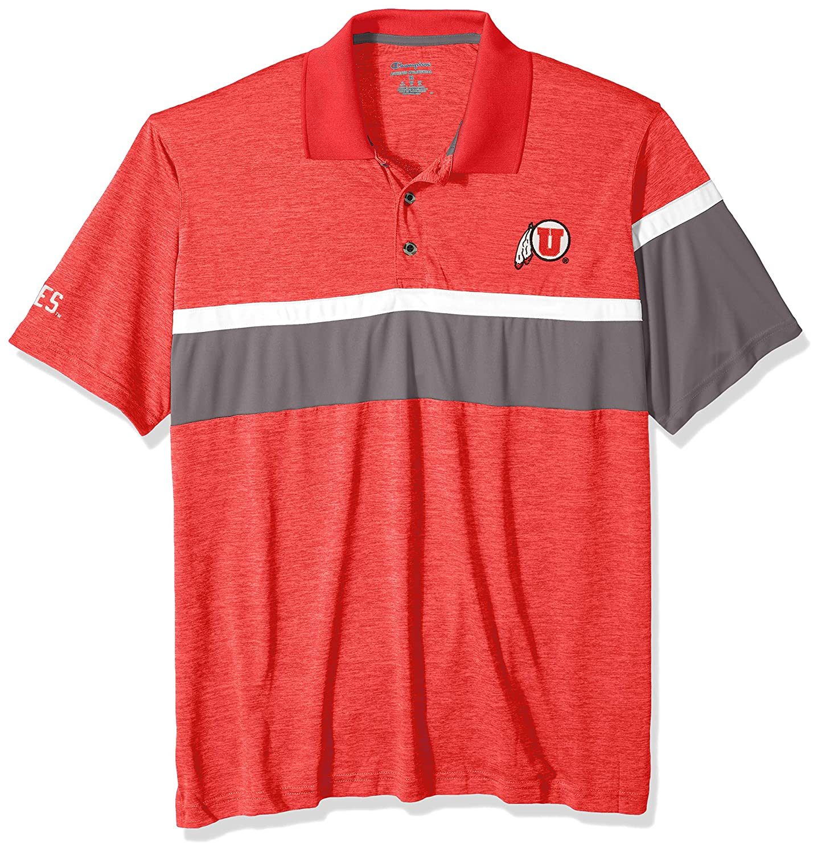 NCAA Utah Utes Mens NCAA Mens Short Sleeve Striped Polo Collared Teechampion NCAA Mens Short Sleeve Striped Polo Collared Tee Large Athletic Red