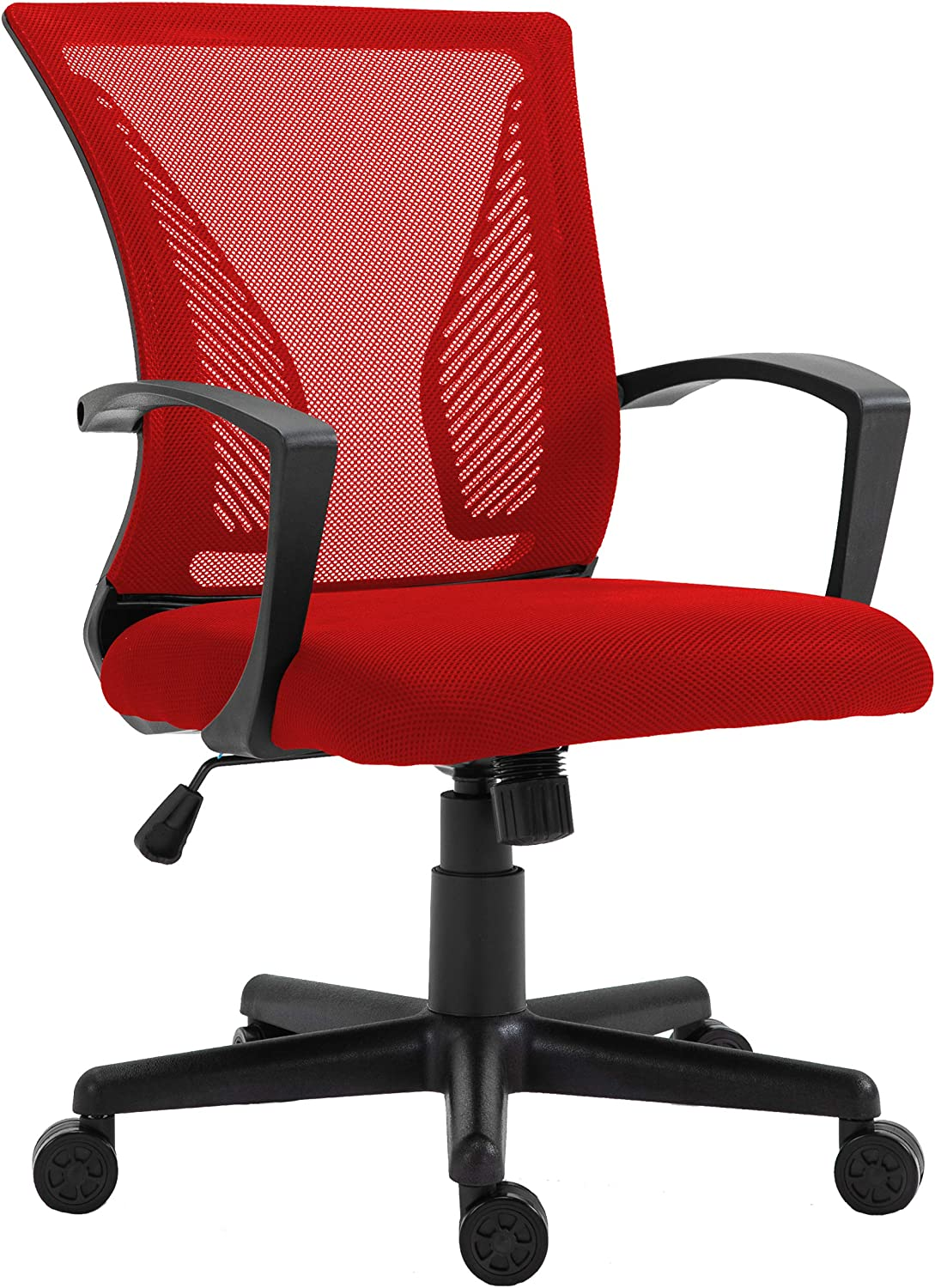 HALTER Desk Chair - Red Gaming Mesh Chair - Adjustable and Comfortable Ergonomic Chair with Armrests and Wing Lumbar Support - Ideal Gaming or Home Office Chair