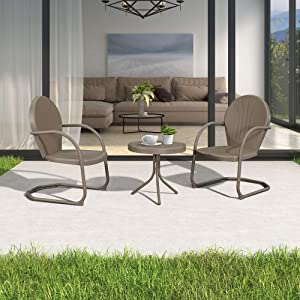 PURPLE LEAF Outdoor Patio Bistro Set, 3 Pieces Retro Porch Furniture Set 2 C-Spring Metal Outdoor Chairs and Round Side Table, Champagne