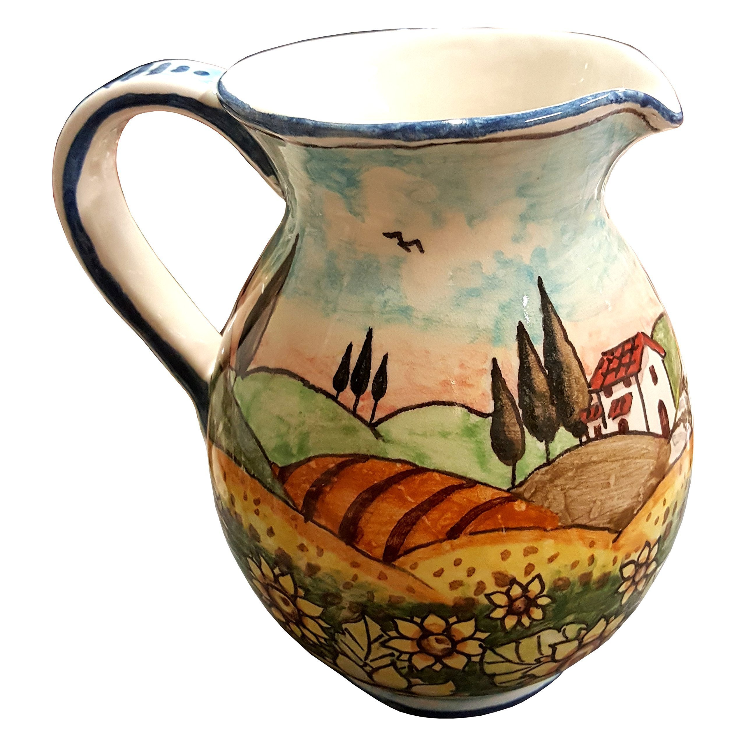 CERAMICHE D'ARTE PARRINI - Italian Ceramic Art Pottery Jar Pitcher Vino Vine 0.4 Gal Hand Painted Decorated Landscape Sunflowers Made in ITALY Tuscan