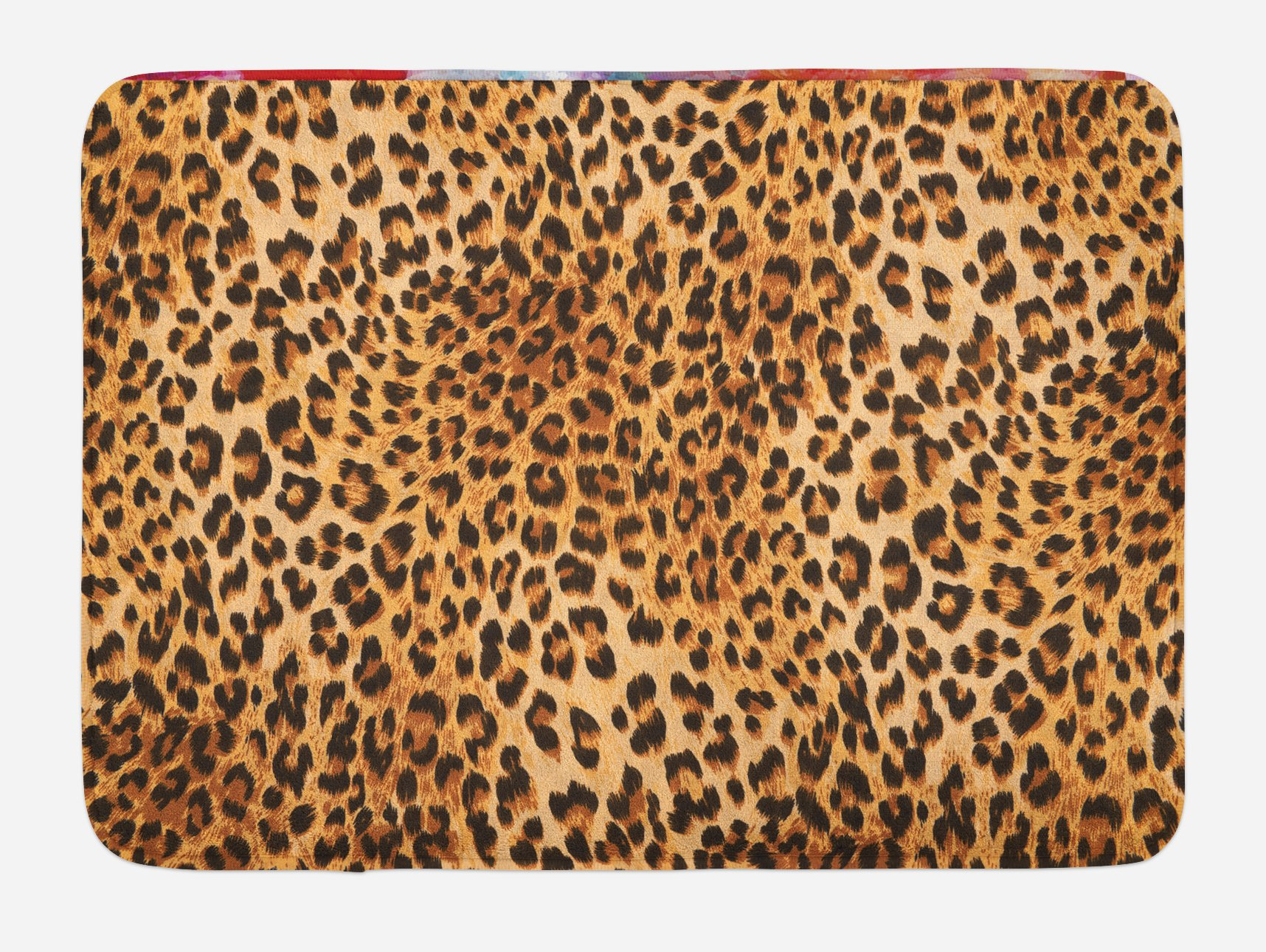 Lunarable Animal Print Bath Mat, Wild Animal Leopard Skin Pattern Wildlife Nature Inspired Modern Illustration, Plush Bathroom Decor Mat with Non Slip Backing, 29.5 W X 17.5 W Inches, Sand Brown