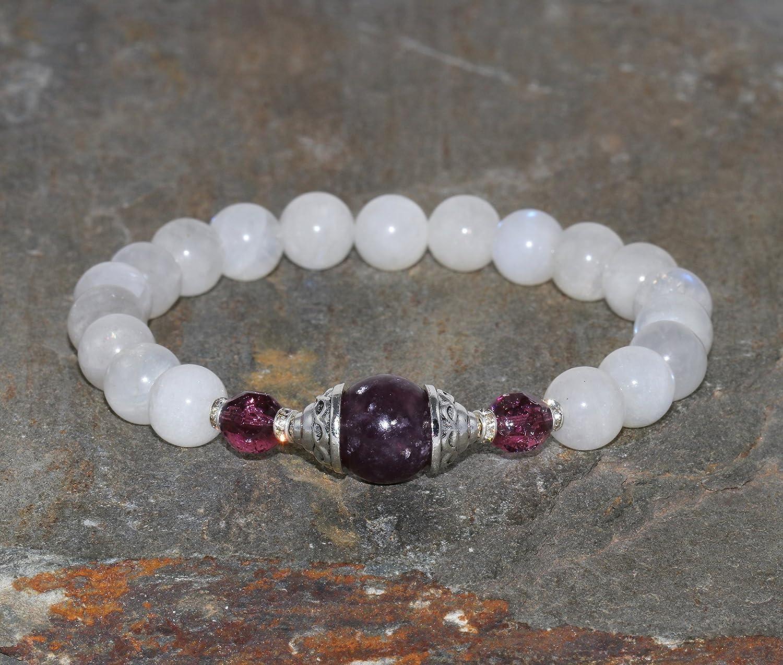 Pulsera de Piedra de luna de 8 mm y Lepidolita de 10 mm joyería Yoga cristales curativos cuentas de energía femenina cristal Checo nuevos comienzos y equilibrio hormonal