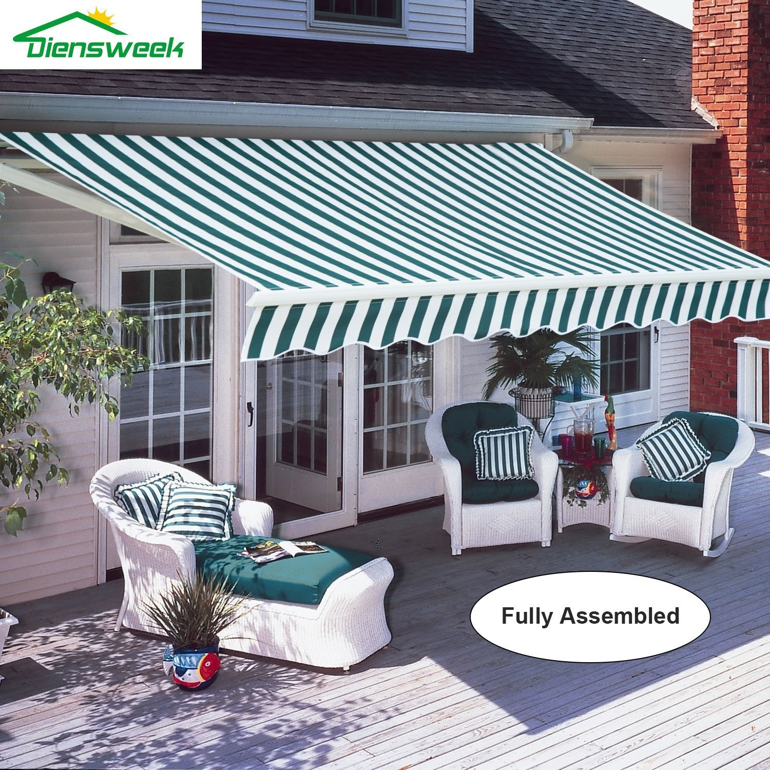 Amazon Diensweek 10 x8 Patio Awning Retractable Manual