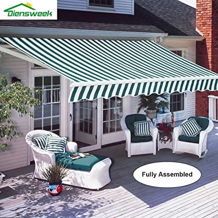 Diensweek 10u0027x8u0027 Patio Awning Retractable Manual Commercial Grade, Fully  Assembled,100