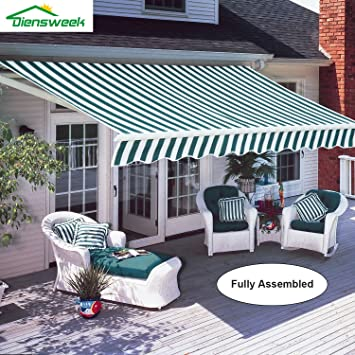 High Quality Diensweek 10u0027x8u0027 Patio Awning Retractable Manual Commercial Grade, Fully  Assembled,100