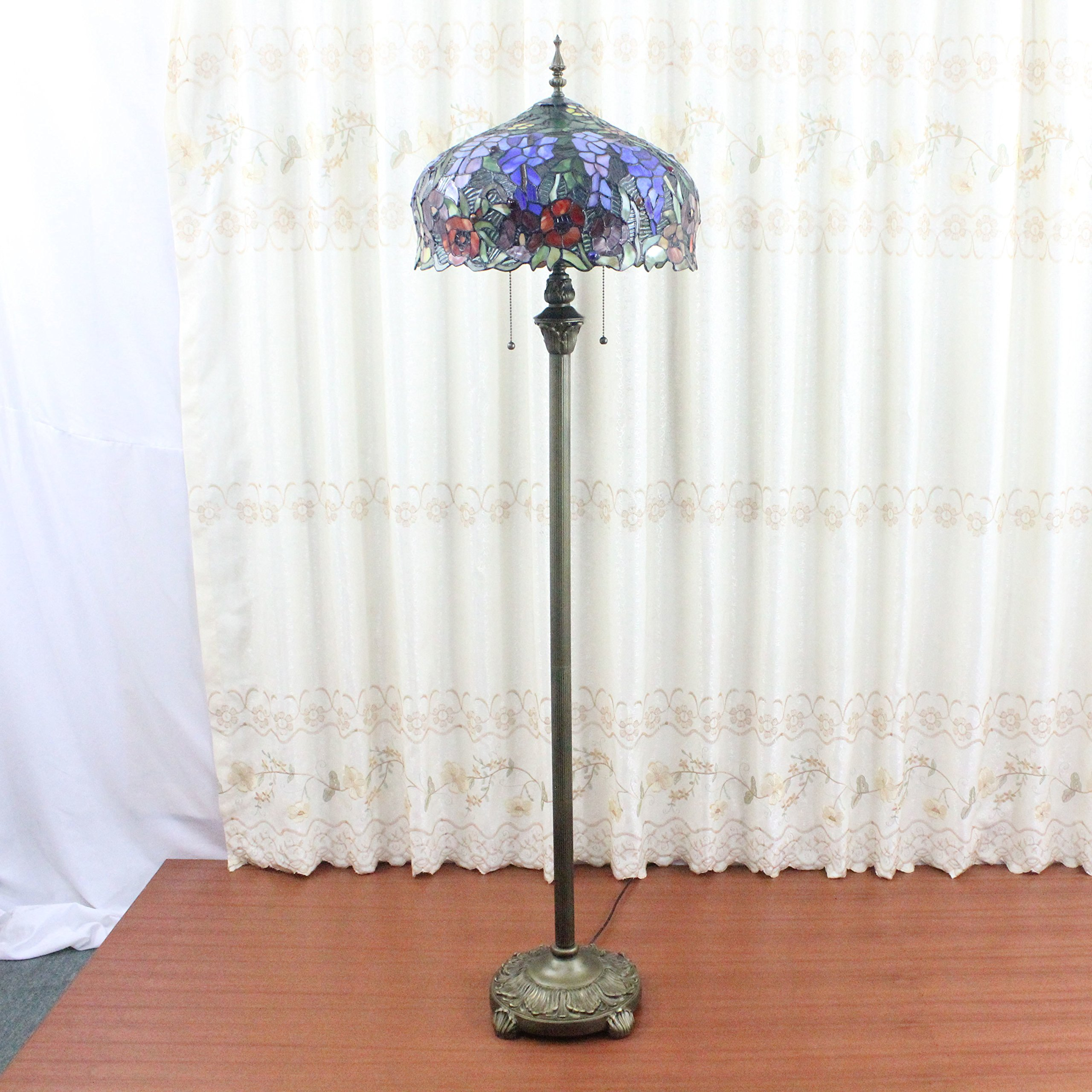 Royal- 16 inch Wild retro luxury living room bedroom den pastoral Tiffany stained glass window of rustic handmade floor lamp by Floor Lamp (Image #3)