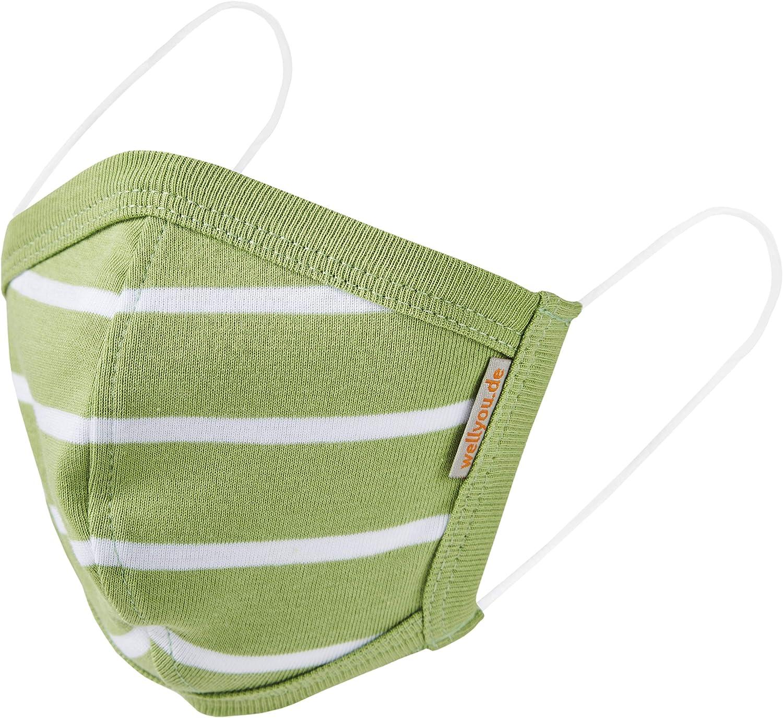 Nasenbedeckung aus 100/% Baumwolle Gr. M L ab 11 Jahre 5 bis 10 Jahre; wellyou 2er Set kinder und Erwachsene Mundbedeckung Doppelpack