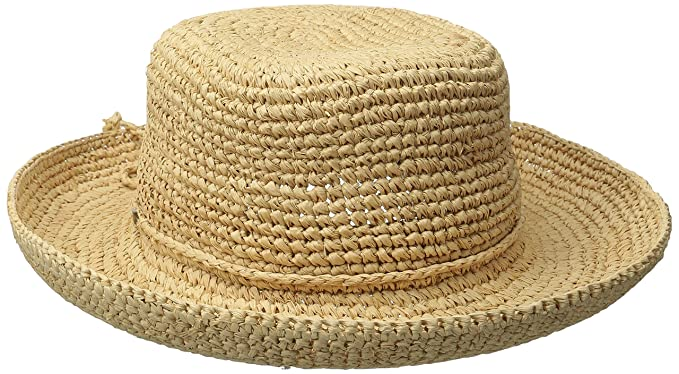 4eec8f9e169 SCALA Women s Crocheted Raffia Hat with Drawstring