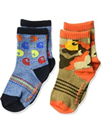 Carhartt baby-boys 2 Pack Infant Toddler Crew Socks With Grippers Casual Sock