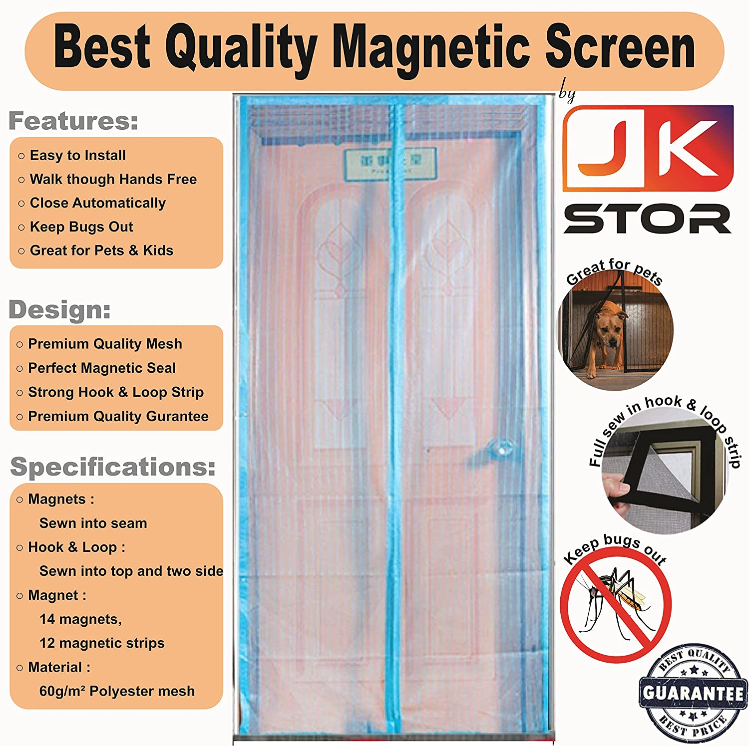 Premium Quality Magnetic Screen Door Full Frame Hook 7 Loop - Keep Bugs Out Lets Fresh Air In. No More Mosquitos or Flying Insects - Children and Pet Friendly, Instant Bug Mesh with Top-to-Bottom Seal, Snaps Shut Like Magic for a Hands-Free Bug-Proof Curta