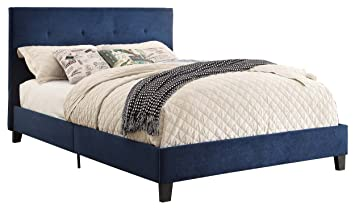 homelegance upholstered queen platform bed frame w tufted accent headboard footboard - Queen Upholstered Bed Frame