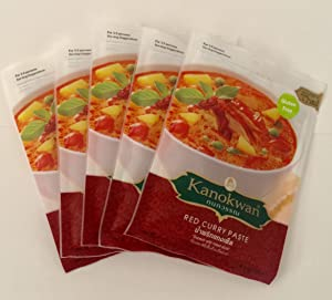 Red Curry Paste (Kaeng Ped)Thai Authentic Herbal Food Net Wt 50 G (1.76 Oz.) Kanokwan Brand X 5 Bags