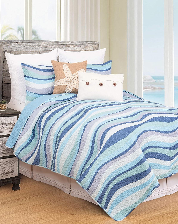 C&F Home Sea Waves Seawaves Blue Ocean Coastal King 3 Piece Beach Reversible Coverlet Quilt Set with 2 King Shams King 3 Piece Set Blue