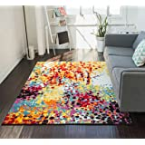 """Impasto Multi Geometric Red Yellow Blue Modern Abstract Painting Area Rug 8x10 ( 7'10"""" x 9'10"""" ) Easy Clean Stain Fade Resistant Shed Free Contemporary Brush Stroke Thick Soft Plush Living Dining Room"""
