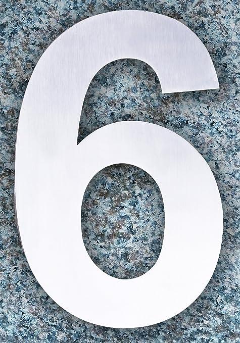 QT Número de casa moderna - 15 Centímetros - Acero inoxidable (Número 6 Sies / 9 Nueve), Apariencia flotante, Fácil de instalar y hecho de acero inoxidable ...