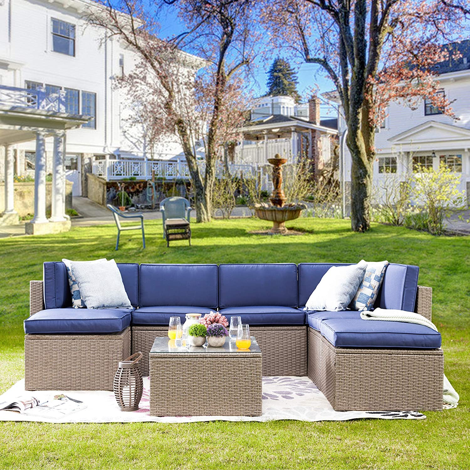 Amazon Com Lokatse Home 8 Piece Outdoor Sectional Rattan Sofa Sets Patio Wicker Furniture Conversation Set With Soft Cushions And Ottomans Blue Garden Outdoor