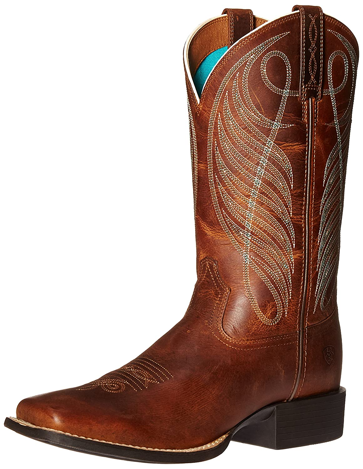 Ariat Women's Round up Wide Square Toe Western Cowboy Boot B01BPW9L8I 7.5 B(M) US|Powder Brown