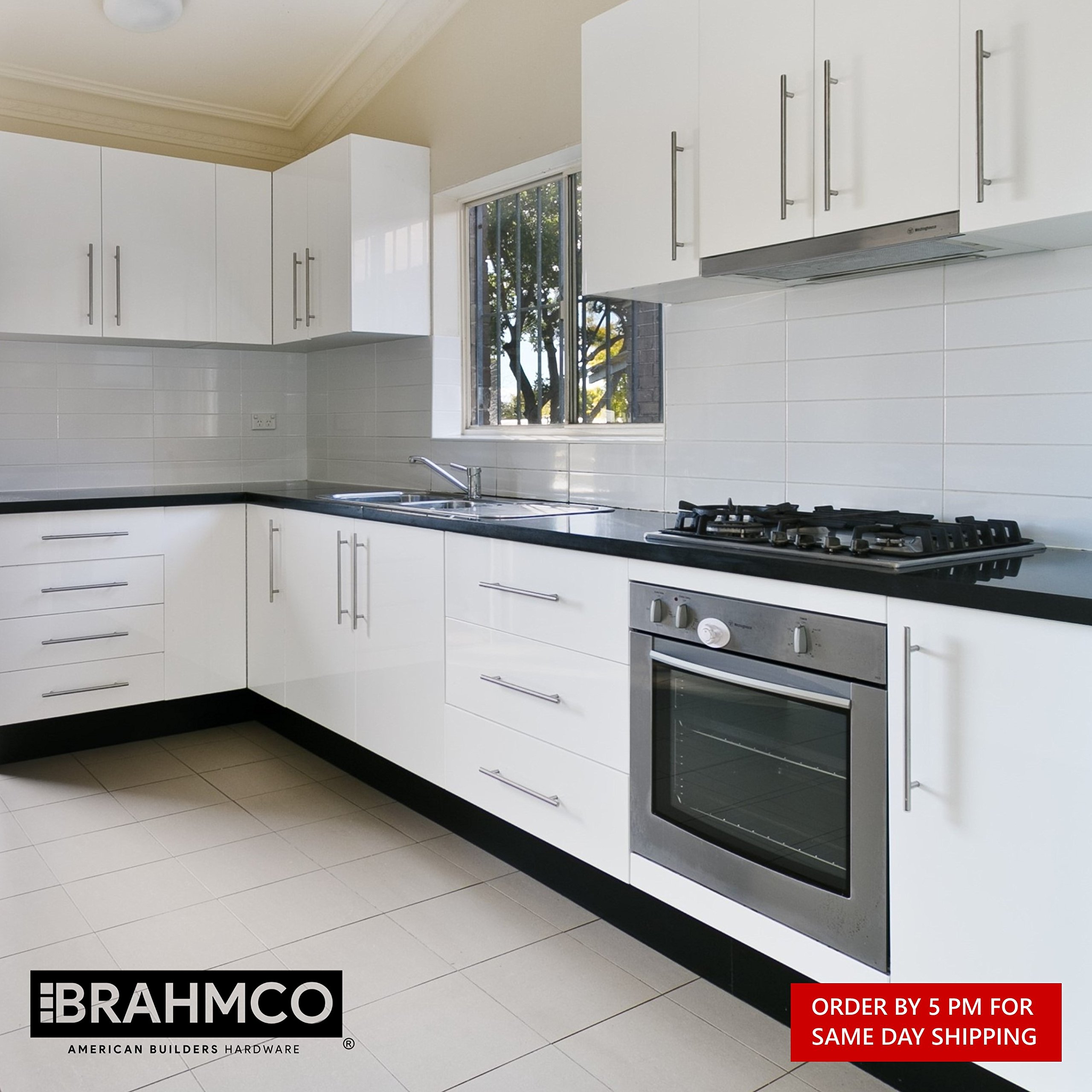 30 Pack | 5'' Stainless Steel T Bar Cabinet Pulls: 3 Inch Hole Spacing | Brahmco 180-5 | Modern Euro Style Brushed Satin Nickel Finish Kitchen Cabinet Handles Hardware/Drawer by Brahmco (Image #9)