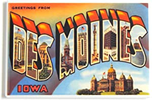 Greetings From Des Moines Iowa Fridge Magnet (2 x 3 inches)
