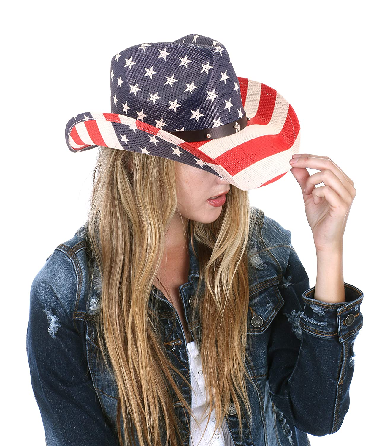 RufnTop Men s   Women s Western Vintage Style Cowboy Cowgirl Straw Hat w  Band Décor(American Flag Cowboy 2) at Amazon Men s Clothing store  295d8925b3b