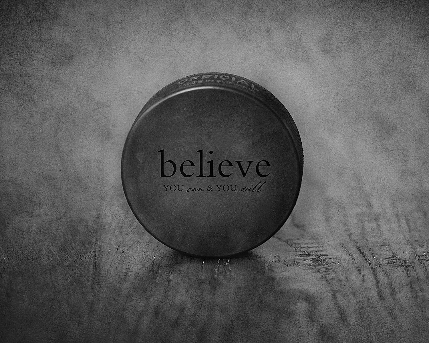 Amazon Com Black And White Hockey Puck Photograph 8x10 Unframed Sports Inspirational Wall Art Sports Motivational Quotes Sports Pictures For Bedroom Sports Kids Wall Decor Handmade