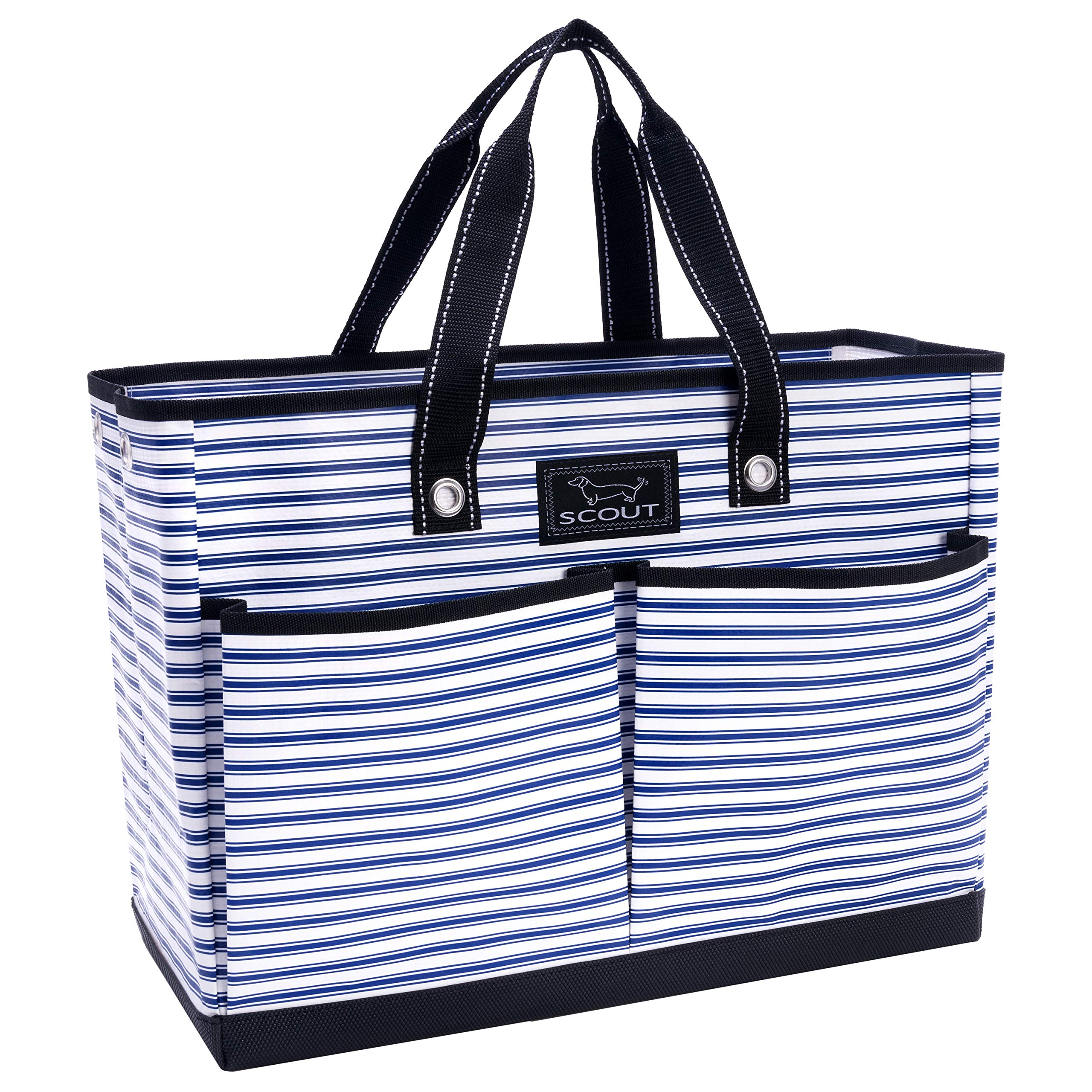 SCOUT BJ Bag, Large Multi Pocket Utility Tote for Beach and Pool, Reinforced Bottom, Water Resistant, Zips Closed, Stripe Right