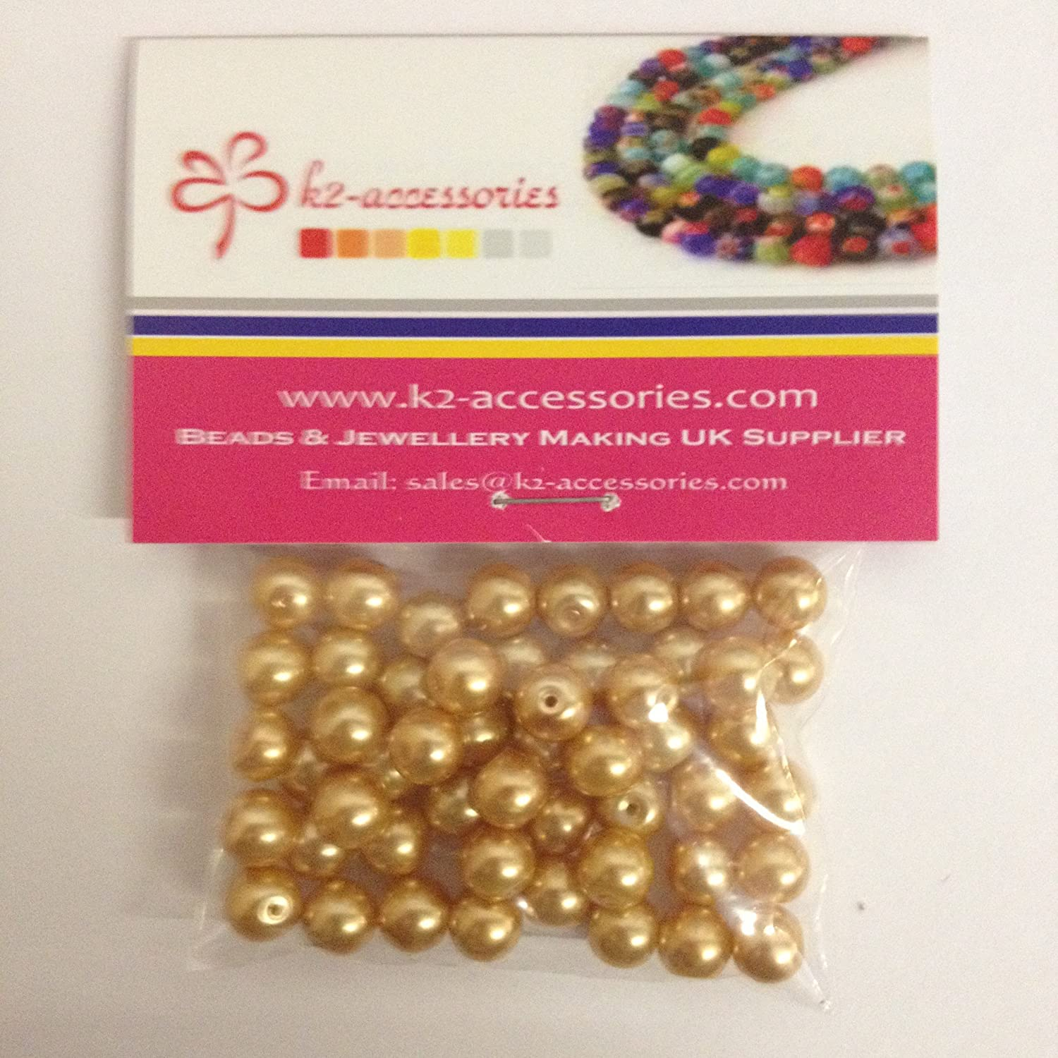 100 pieces 8mm Glass Pearl Beads - Golden - A1008 k2-accessories