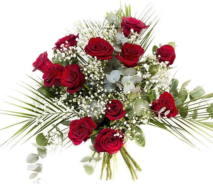 Ramo de 12 rosas rojas naturales