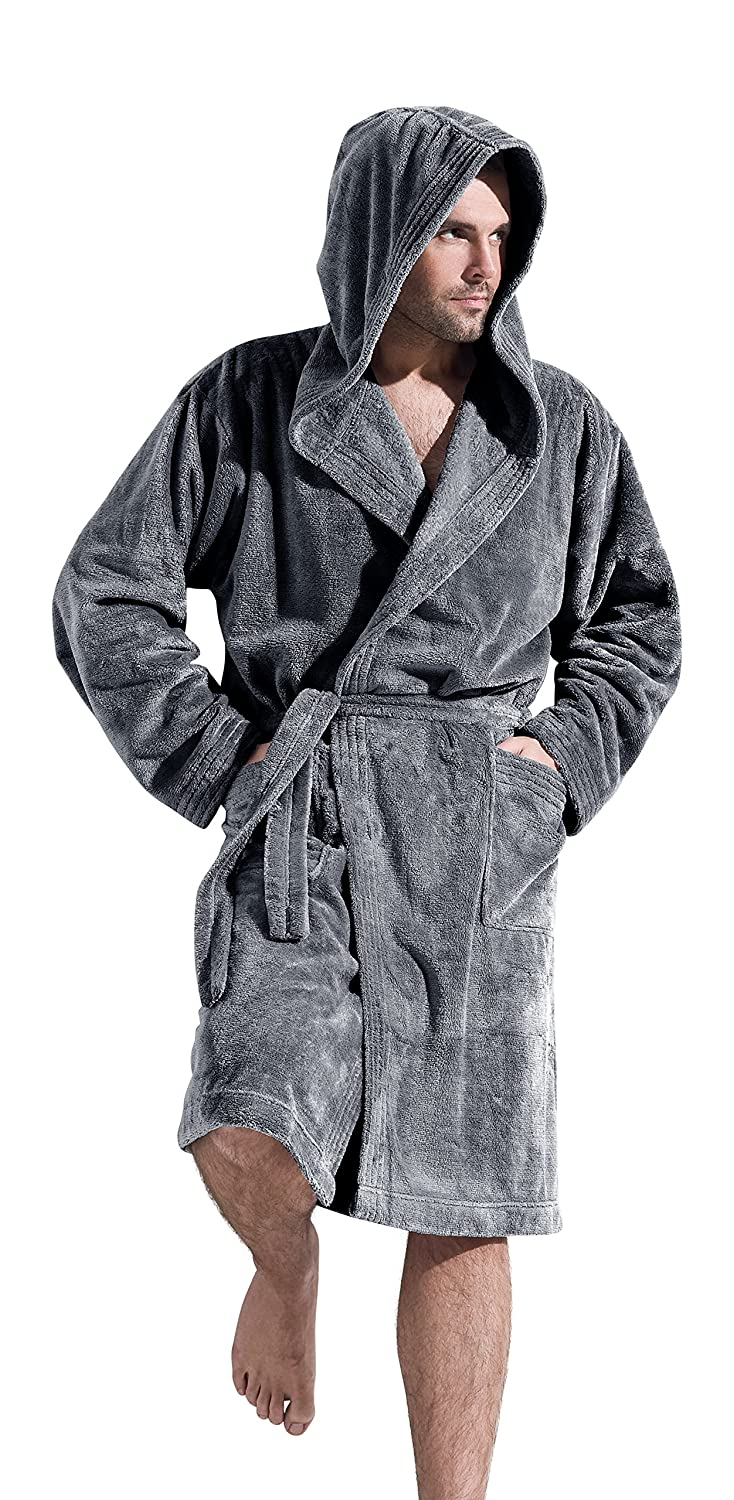 Mens Luxury Soft Warm Dressing Gown Hooded Bathrobe Housecoat at ...