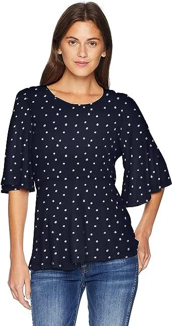 Lucky Brand Women's Printed Flutter Sleeve TOP