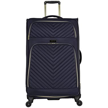 Kenneth Cole Reaction Women's Chelsea 28  Softside Chevron Quilted Expandable 4-Wheel Spinner Checked Suitcase, Navy