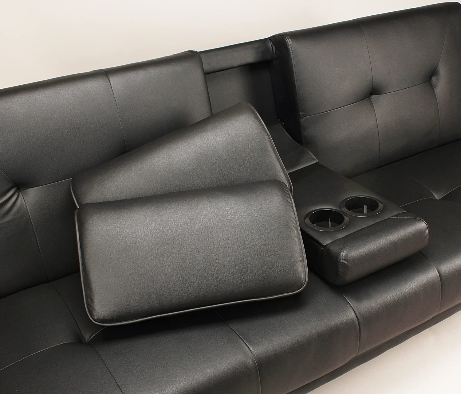 Sofa Bed Black Faux Leather Clack Double Settee 2 to 3