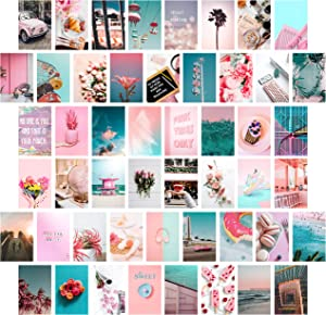 Heather & Willow Photo Collage Kit for Wall Aesthetic Pictures 50 Set 4x6 Inch | Boho Cottagecore Indie Room Decor | Cute Wall Art for VSCO Girls | Pink Teen Girls Bedroom Decor - Peachy Beach