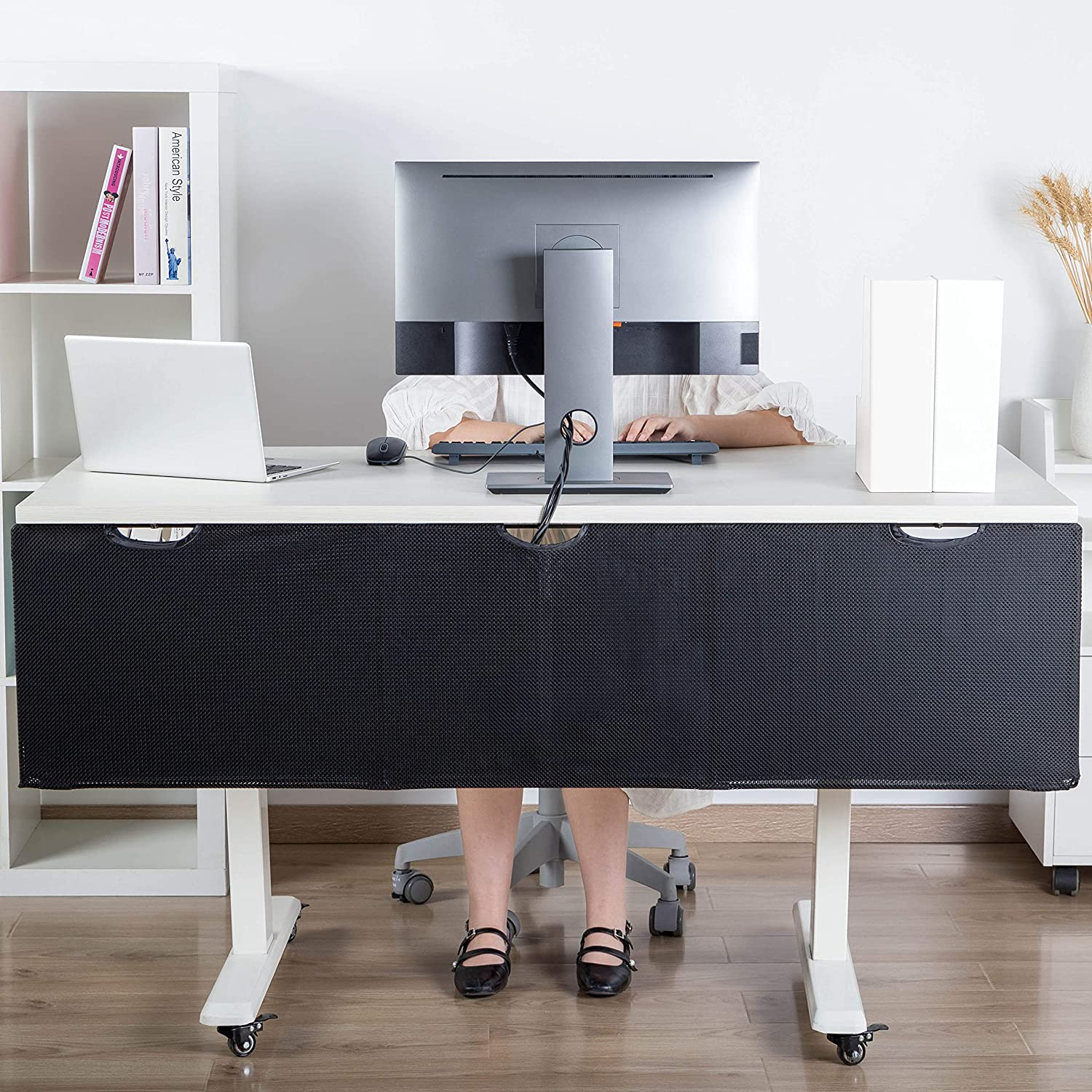 HumanCentric Under Desk Cable Management Sleeve & Privacy Panel – 60 Inches | Organize and Hide Wires with a Fabric Net Instead of J Channels and Wire Trays