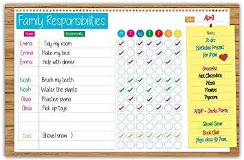 family planner responsibility chore chart dry erase poster board