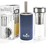 Tealyra - teaTRAVEL 500ml - Glass Double Walled Thermos Flake - Travel Mug with Removable Stainless Steel Infuser Basket - Borosilicate Glass Tea and Coffee Thumbler - 16-Ounce