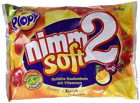 Nimm2 Caramelos Blando de Naranja y Limón Con Vitamina C, Con Interior de Zumo de