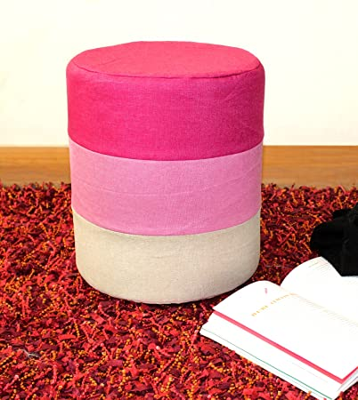 TIED RIBBONS Barrel Ottoman pouffe Stool Footstool for Living Room Drawing Room Office Home Bedroom Balcony(35 cm X 29 cm)
