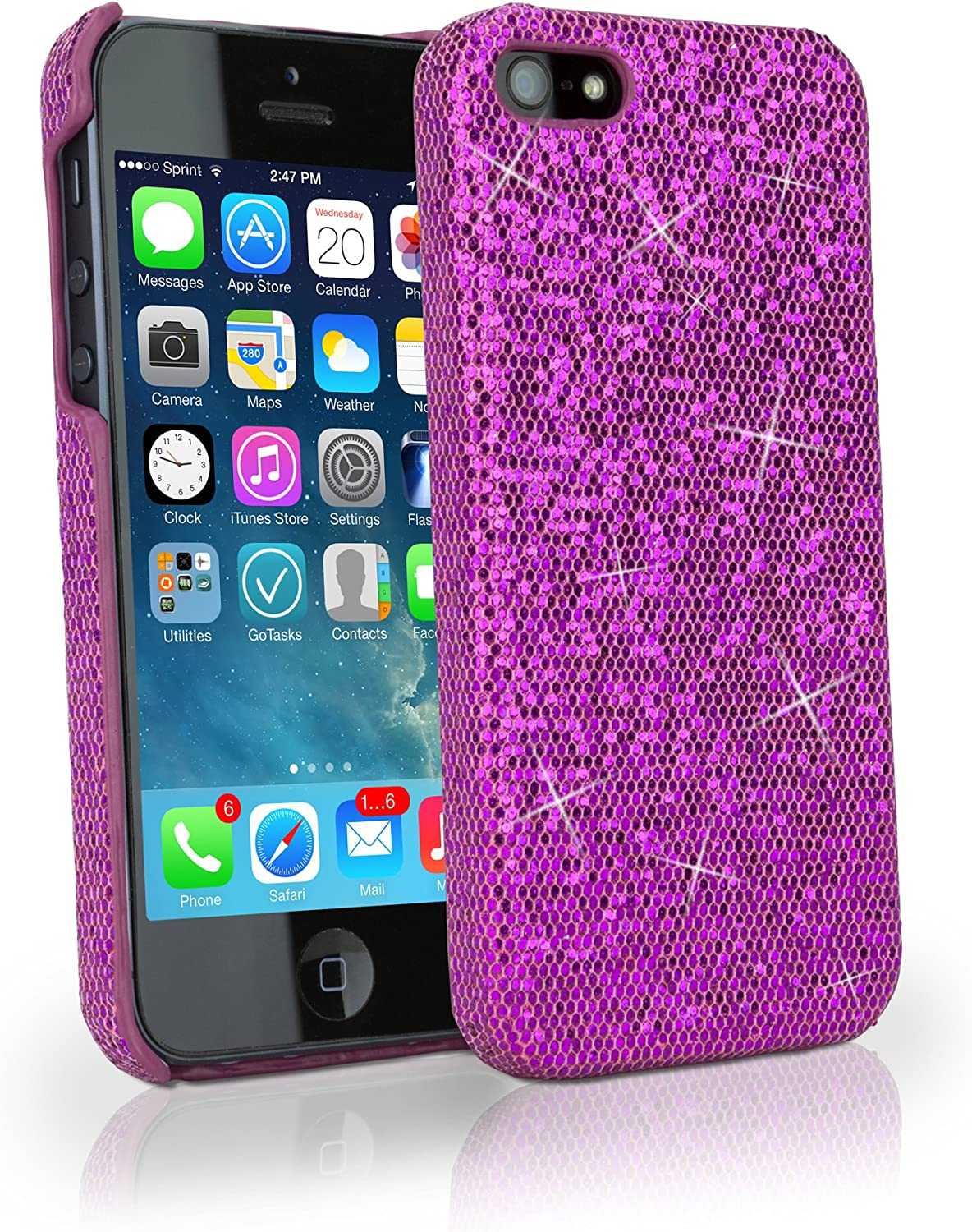 iPhone 5 Case, BoxWave [Glamour & Glitz Case] Slim, Snap-On Glitter Cover for Apple iPhone 5, SE, 5s - Cosmo Pink