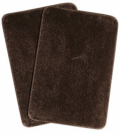 Saral Home Microfiber Anti-Slip Bathmat (45X65cm, Brown) - Pack of 2