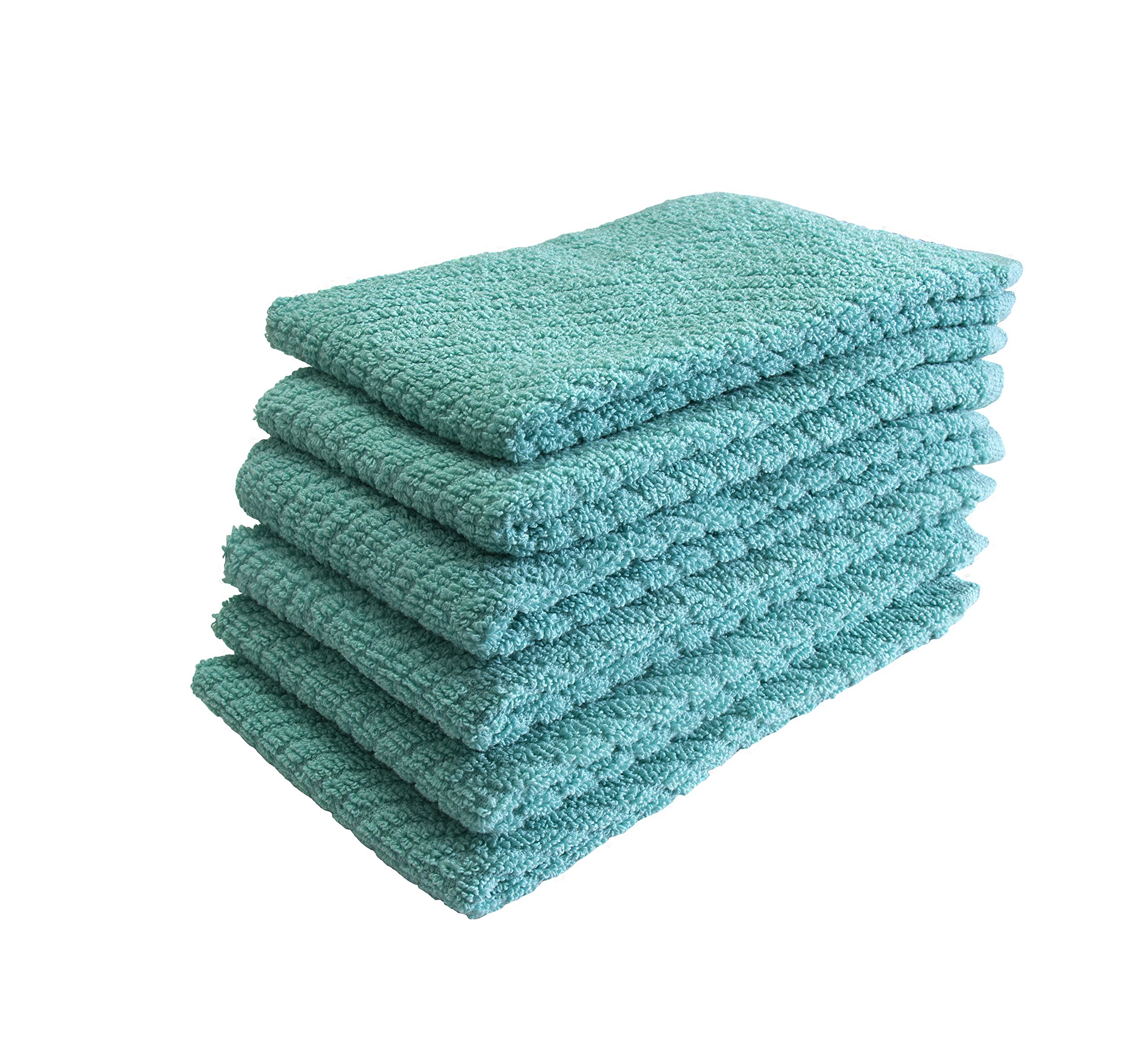 "Bumble Deluxe Barmop Kitchen Towel 6-Pack / 16"" x 19"" / Premium Ultra Absorbent Cotton Hand Towels/Quick Drying Tea Towels/Diagonal Weave Thick 2-Ply/Long Lasting - Aqua by Bumble Towels (Image #2)"