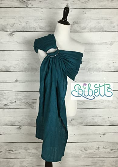f8b6ce16ed0 Image Unavailable. Image not available for. Color  Bibetts Pure Linen   Teal  Ring Sling Baby Carrier
