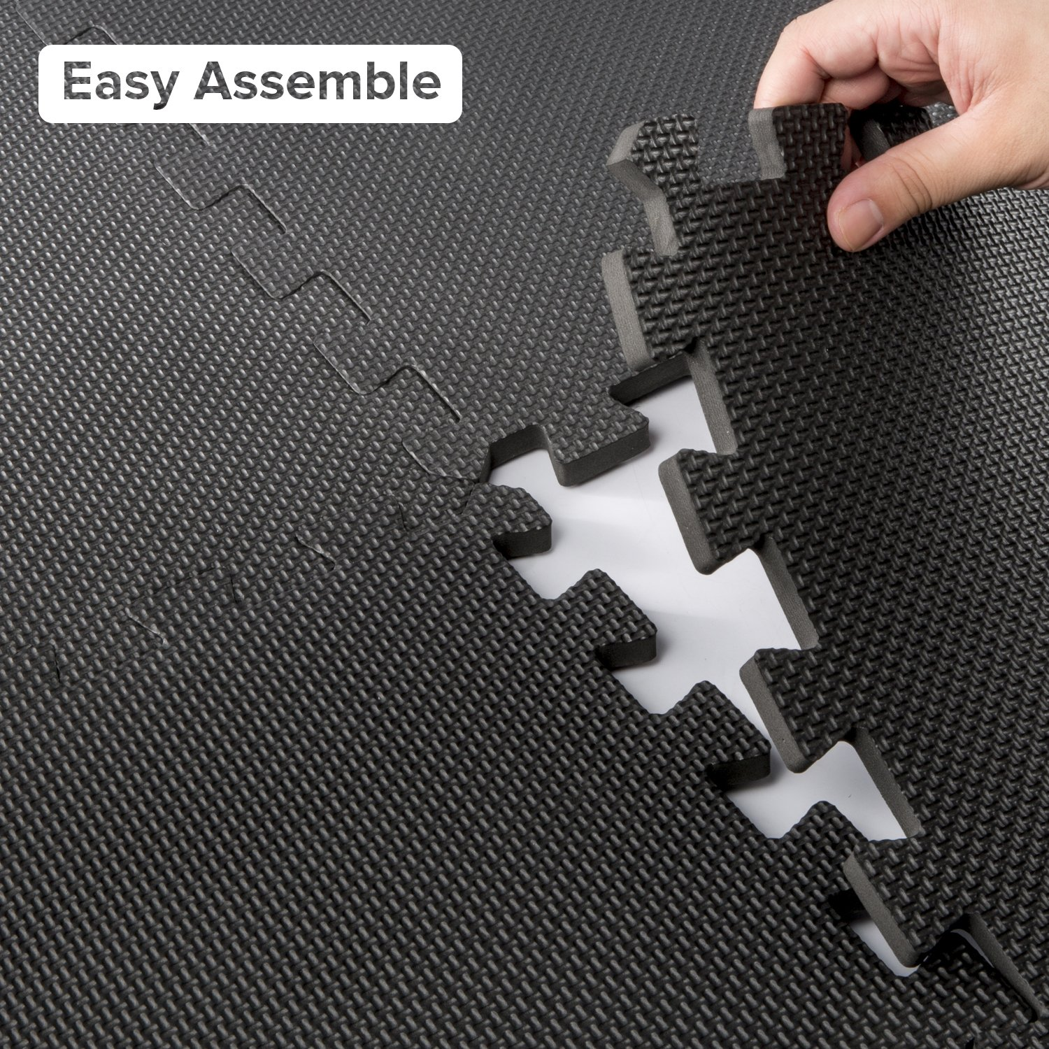LEVOIT Puzzle Exercise Floor Mat for Gym Equipment, EVA Foam Interlocking Tiles, Protective Flooring for Working Out, Easy Assembly, 24 SQ FT (6 Tiles, 12 Borders), Black by LEVOIT (Image #5)