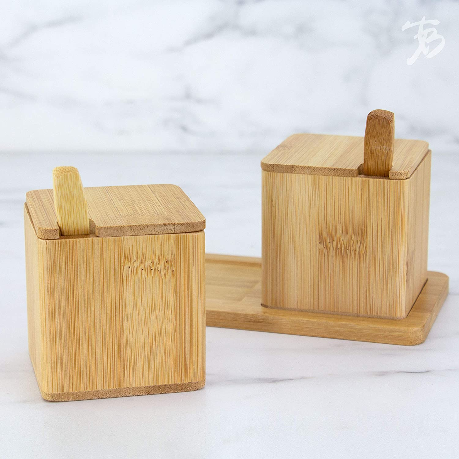 Totally Bamboo Little Dipper Bamboo Salt Box with Spoon 6 Ounce Capacity 20-8562