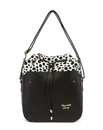 3b0dffcb4273e Elizabeth George Damen Handtasche 771-1 Schwarz - Weiß Damentasche  Henkeltasche Tragetasche Schultertasche Shopper Umhängetasche