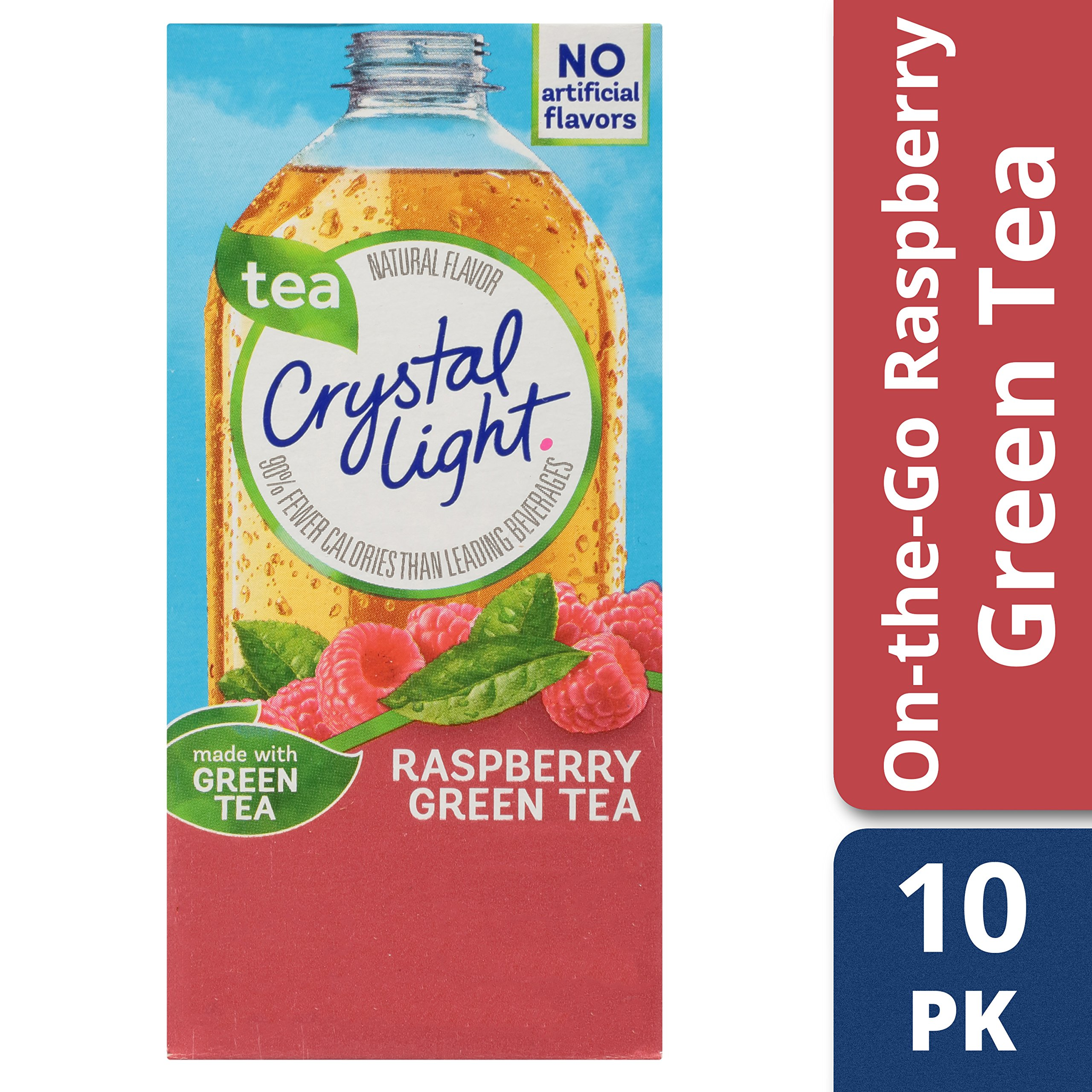 Crystal Light Drink Mix, Raspberry Green Tea, On The Go Packets, 10 Count (Pack of 12 Boxes)