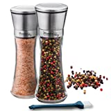 Salt and Pepper Shakers Grinders Set of 2 Glass Mills Brushed Stainless Steel with Adjustable Ceramic Rotor and Utility Brush by Wonder Sky