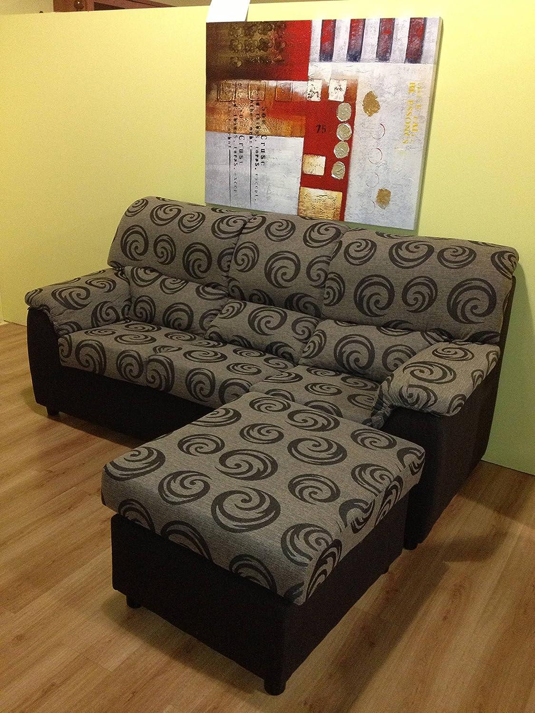 MUEBLES MATO - Sofa Sergio 3 plazas con Puff Marron-Beige ...