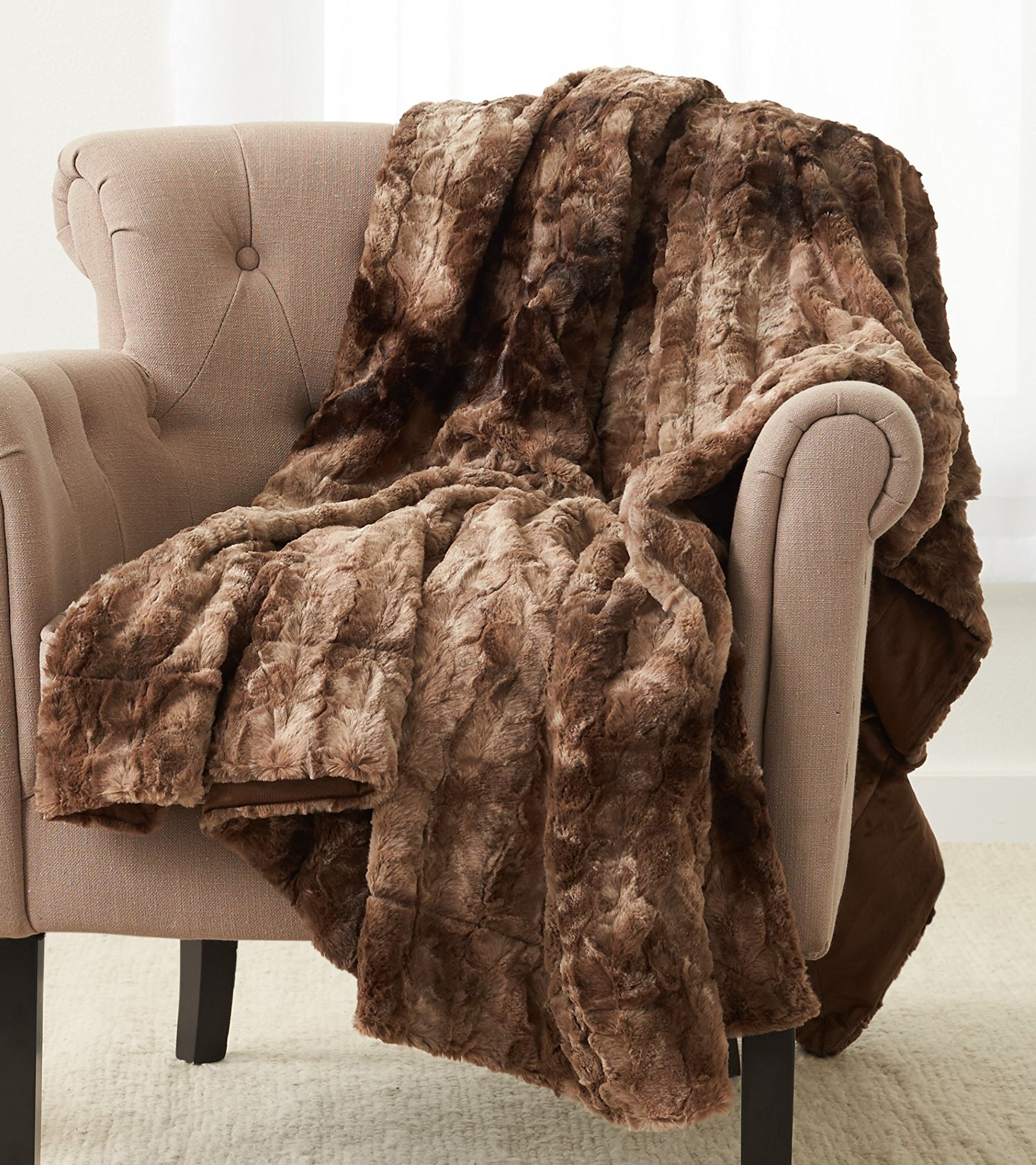 Pinzon Faux Fur Throw Blanket 50'' x 60'', Alpine Brown