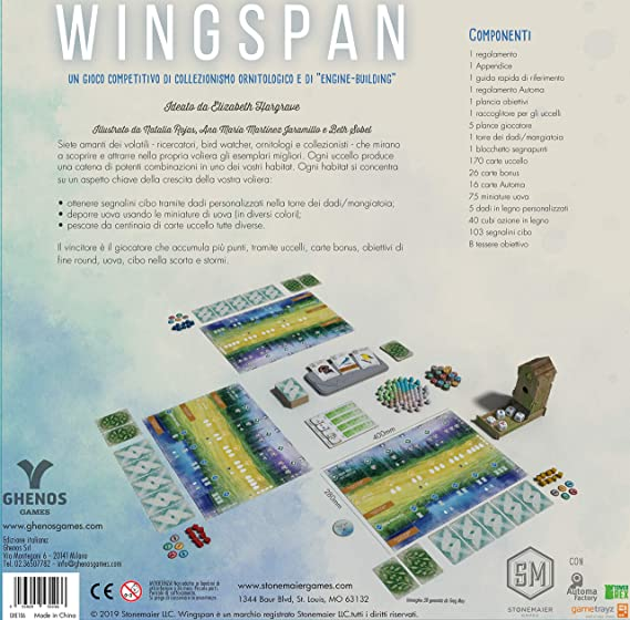 Ghenos Games- Wingspan, multicolor, 1, italiano: Amazon.es: Juguetes y juegos